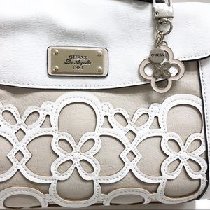Guess Floral Laser Cut TanWhite Satchel Handbag